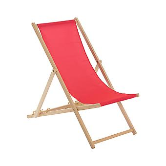 Traditional Adjustable Wooden Beach Garden Deck Chair - Pink