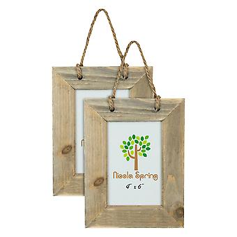 """Nicola Spring Set of 2 4 x 6 Wooden Hanging Photo Picture Frames - Fits 4x6"""" Photos - Natural"""