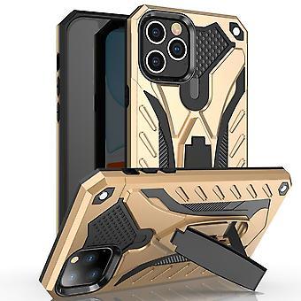 Für iPhone 12 Mini Case, Rüstung starke stoßfeste harte Abdeckung Kickstand, Gold