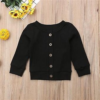 Mode flickor coat nyfödda babykläder långärmad knapp stickad toppar tröja