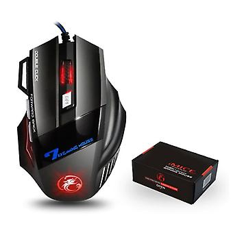 iMice X7 Optical Gaming Mouse Wired - Right-handed and Ergonomic with DPI Adjustment - 5500 DPI - 7 Buttons - Black
