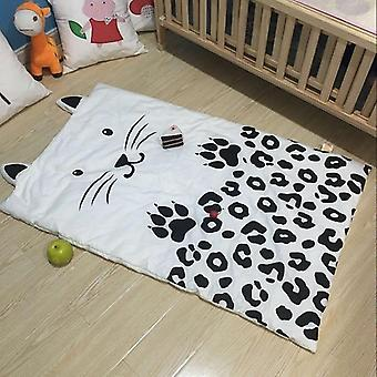 Summer Baby Cotton Quilt, Cat Printing Thin Bedding For Newborn (white)