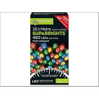 Premier Decorations Multi-Action Supa Bright 480LED 8H Multi-Coloured LV162172M