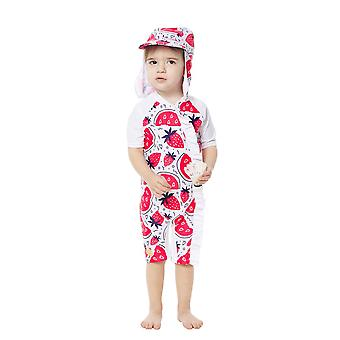 Bonverano Baby Girls UPF 50+ Sun Protection Short Sleeves Zipper Sunsuit