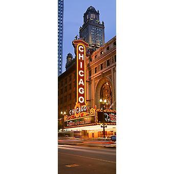 Leuchtreklame von einer Bühne Theater beleuchtet in der Nacht Chicago Illinois USA Poster Print