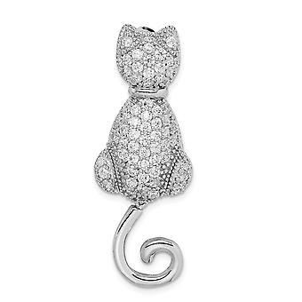 925 Sterling Silver Polished Moveable Rhodium plated CZ Cubic Zirconia Simulated Diamond Cat Pin Jewelry Gifts for Women