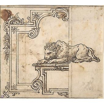 Design for a Frame with Two Compartments and a Crowned Lion Poster Print by Anonymous Italian 17th century (18 x 24)