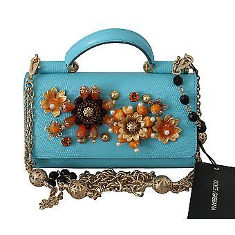 Blue sicily von crystal crossbody leather bag