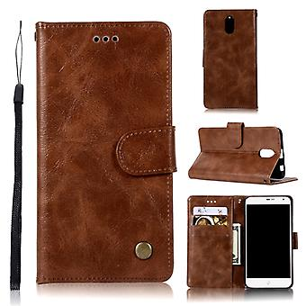 For Lenovo Vibe P1M Retro Copper Button Crazy Horse Horizontal Flip PU Leather Case with Holder & Card Slots & Wallet & Lanyard(Brown)