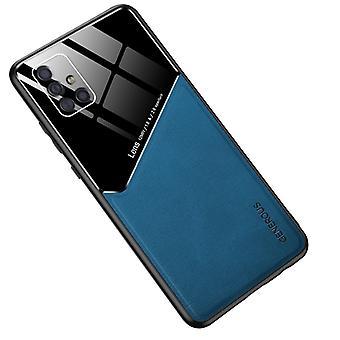 Voor Samsung Galaxy A51 4G All-inclusive Leder + Organic Glass Phone Case met metalen ijzeren vel (blauw)