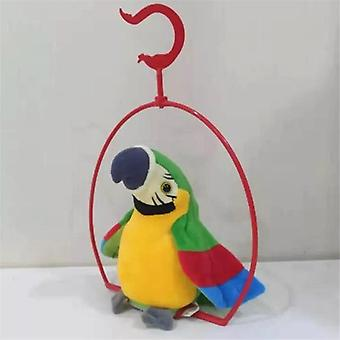 電気トーキングオウムのおもちゃ、かわいい話すレコードが繰り返され、翼を振る