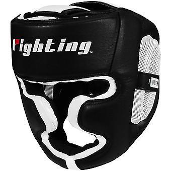 Kampf Sport S2 Gel Full Face Training Boxen Kopfbedeckungen - schwarz/weiß