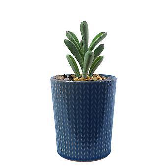 Plantador de rayas azules de cerámica de 17 cm con planta suculenta artificial