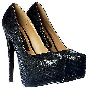 Onlineshoe Sparkly Negro Brillante Alto Tacón Stiletto Zapatos de Plataforma Oculta - Brillo Negro