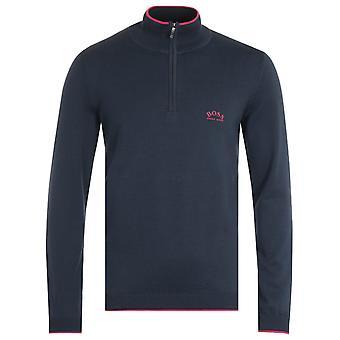 BOSS Ziston Organic Cotton Zip Neck Navy Sweater