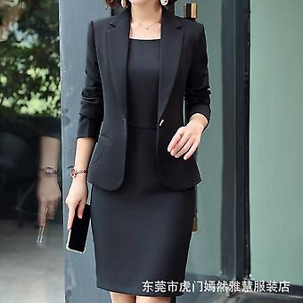 Blazer trajes de vestir, ropa de oficina de las señoras, manga completa delgada