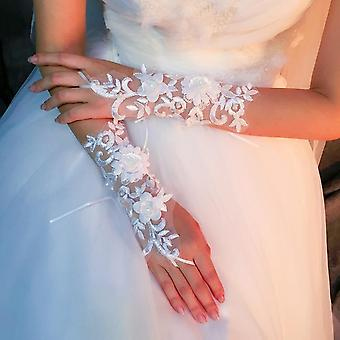 قفازات الطرف القصير الأبيض بلا أصابع اللؤلؤ الأنيق مساء الزفاف