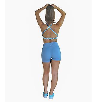 Blue Seamless, High-rise Yoga Shorts
