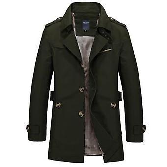 Spring Autumn Men Jacket, Cotton Coat, Slim Fit, Trench Casual Overcoat,