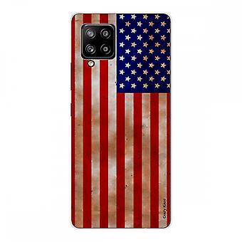 Scafo per Samsung Galaxy A42 5g Silicone Soft 1 Mm, Bandiera Usa