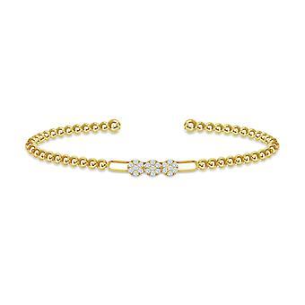 Diamantes redondos de cluster de bangle sparkle e ouro de 18k