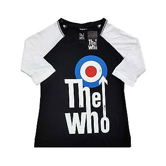 The Who T Shirt Elevated Target Band Logo Official Raglan 3/4 Sleeve Womens
