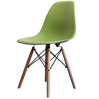 Charles Eames Style Green Plastic Retro Side Chair - Natural Wood Legs