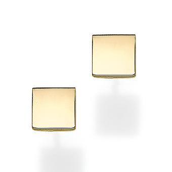 14k الذهب الأصفر مربع شكل الأقراط مسمار
