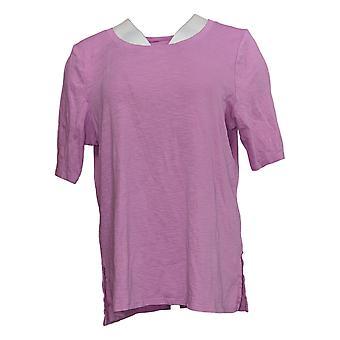 J. Jill Women's Top Cotton Scoop Neck Elbow Sleeve Knit Pink A390664