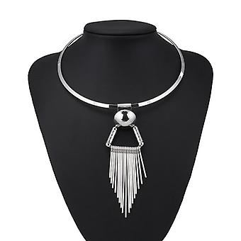 Punk Big Statement Stripe Triangle Tassel Colar e Pingentes