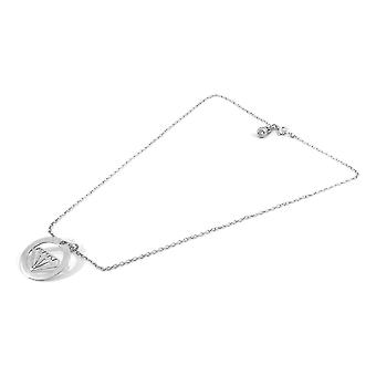 ANCHOR & CREW Faceted Diamond Disc Paradise Silver Necklace Pendant