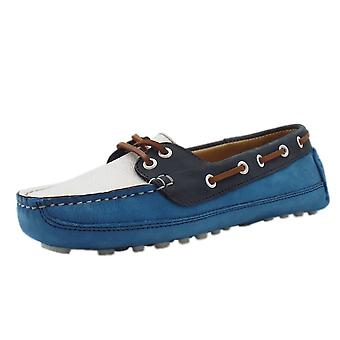 Chatham Echo Women's Driving Lace-up Loafers In Cobalt