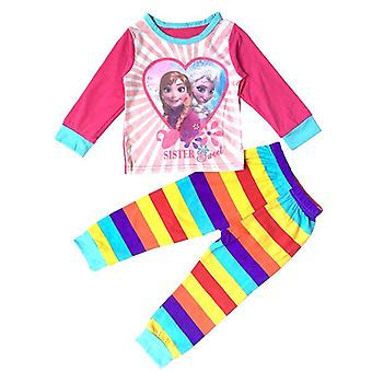 女の子の服、漫画のプリント、長袖パジャマ