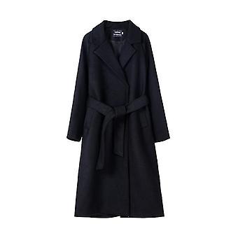 Wool Blend Women's Long Korean Ladies Outwear Covered Button Coat Jacket