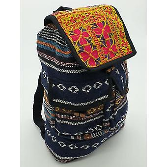 Striped Cotton Hippy Backpack With Recycled Patchwork Embroidery