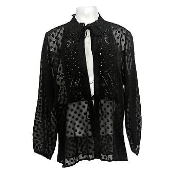 Colleen Lopez Women's Top Plus Woven Chiffon Beaded Topper Black 715-484