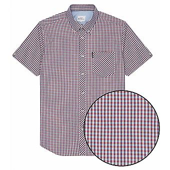 BEN SHERMAN Ben Sherman Mens Big Size Signature Gingham Check Short Sleeve Shirt Cotton