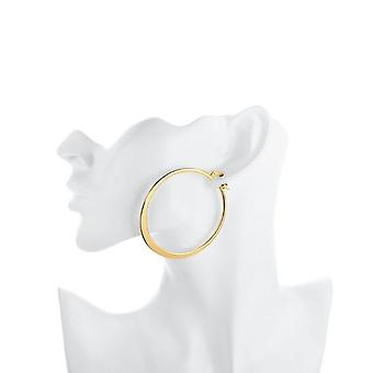 "2.16"" Flat Round Hoop Earring In 18k Gold Plated"