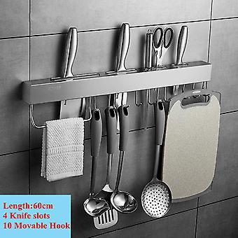 Stainless Steel Kitchen Racks For Pantry, All Knives Shelf With Hook