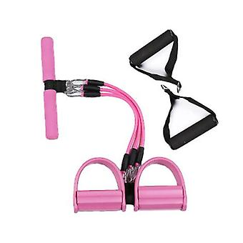 Pink 3-tube Multifunctional Pull Rope, Fitness Extender Pedal Pilates Resistance Band, For Arms, Waist