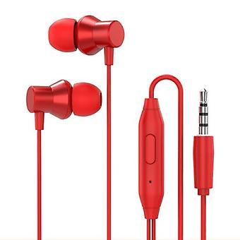 Lenovo H130 Nappikuulokkeita säilytyspussilla - Mikrofoni ja säätimet - 3,5 mm AUX-kuulokkeet Äänenvoimakkuuden säätö Langallinen Kuulokkeet Kuuloke Punainen
