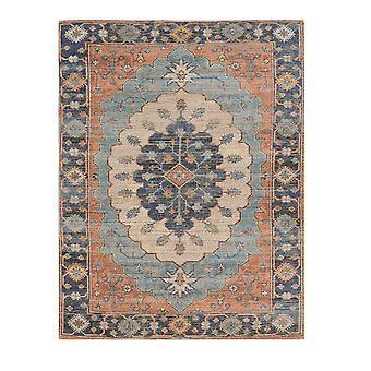5'x7' Blauwe handgeweven bloemenmedaillon indoor ruimte tapijt