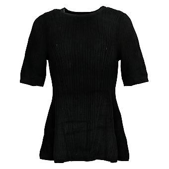 Isaac Mizrahi Live! Women's Elbow Slv Mixed Stitch Sweater Black A305209