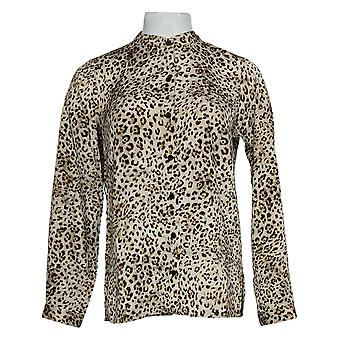 Linea Por Louis Dell'Olio Women's Top Printed Blouse W/ Scarf Bege A385144