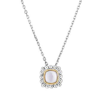925 Sterling Silver 18k Gold and Polished Quadra Necklace With Lobster Clasp 18 Inch Jewelry Gifts for Women