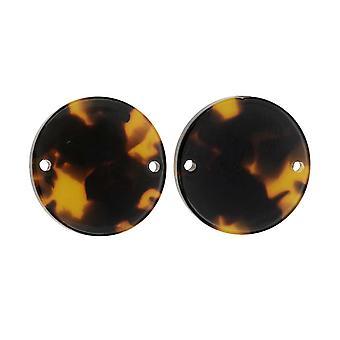 Zola Elements Acetate Connector Link, Moneda 20mm, 2 Piezas, Concha de tortuga marrón