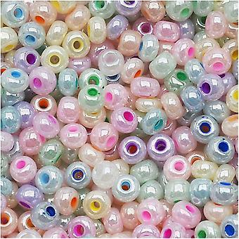 Cuentas de semillas de vidrio checas, 6/0 Round, 1 onza, Pastel Pearl Mix