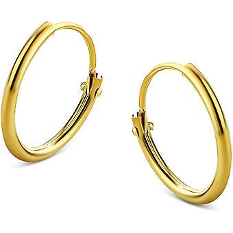 FengChun Damen Ohrringe Gelbgold Creolen 9 Karat (375) Gold