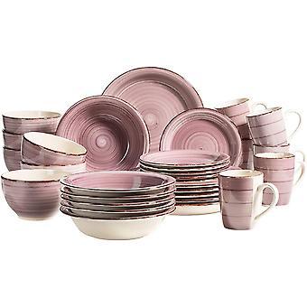 Wokex 931880 Bel Tempo II, 30-teiliges Vintage Geschirr Set für 6 Personen, handbemaltes Keramik