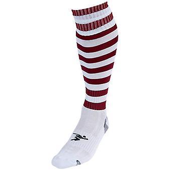 Presné Hooped Pro Futbalové ponožky Biela / Maroon - Veľká Británia Veľkosť J12-2
